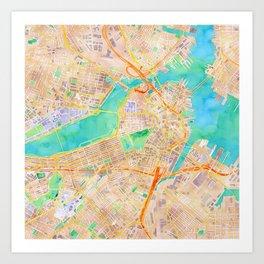 Boston watercolor map Downtown Art Print