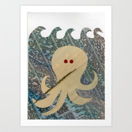 Swimming Octopus Art Print
