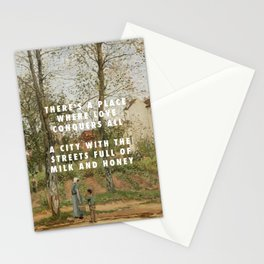 Camille Pissarro, Houses at Bougival (Autumn) (1870) / Halsey, Good Mourning (2017) Stationery Cards