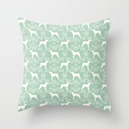German Shorthair Pointer dog breed floral silhouette mint and white dogs pattern gifts Throw Pillow