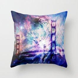 ultra violet golden gate bridge Throw Pillow