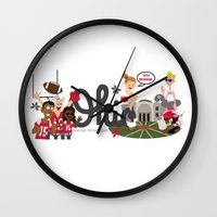 ohio state Wall Clocks featuring Ohio State Love by Sara Riedel