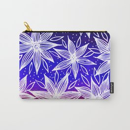 White Flower Pattern Carry-All Pouch