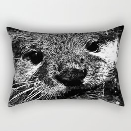 furry fish otter splatter watercolor black white Rectangular Pillow