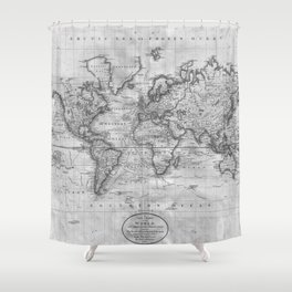 Atlas shower curtains society6 black and white world map 1801 shower curtain gumiabroncs Gallery