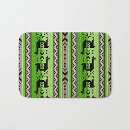 Llamas_Green and WarmGray Bath Mat