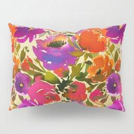 Elegant neon pink lavender orange watercolor floral Pillow Sham