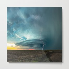 A Memorable Evening - Supercell Storm and Lightning at Sunset in Kansas Metal Print