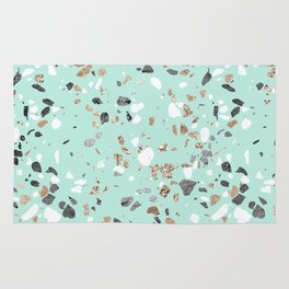 Glitter and Grit Marble Mint Green Rug