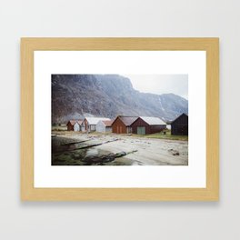 Little boathouses at fjord - Norway Framed Art Print