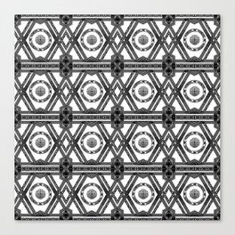 Geometric Black and White Tribal-Inspired Repeat Pattern Canvas Print