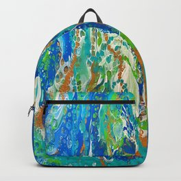 Abstract Acrylic Pour Art - Sea Foam Backpack