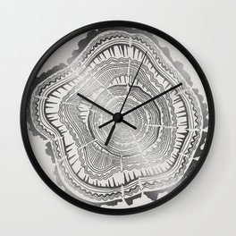 Growth Rings – 65 Years – Silver Wall Clock