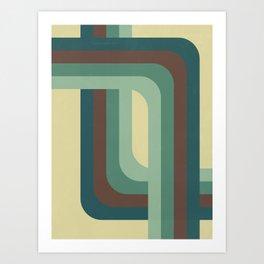 Abstract Retro Stripes Art Print