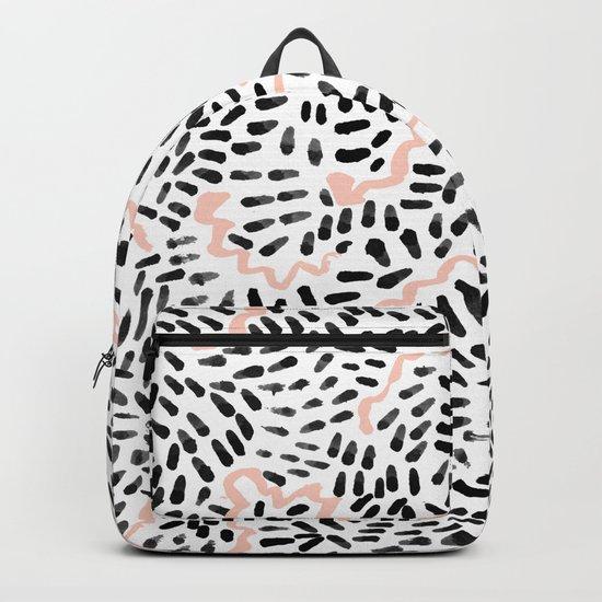 Katli - abstract dots swirls minimal black and white pastel pink pattern decor Backpack
