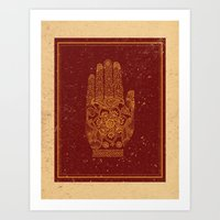 hamsa Art Prints featuring Hamsa by Stranger Designs