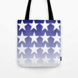Blue and White Stars, Blue Faded Background With White Stars Tote Bag