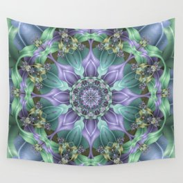 Ribbon Mandala in Blue and Purple Wall Tapestry