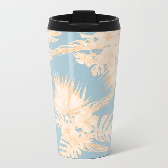 Island Vacation Hibiscus Palm Mango Sky Blue Metal Travel Mug