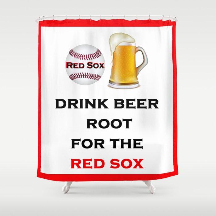 Red Sox Team Baseball Fans Beer Shower Curtain