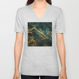 Glamorous Green Faux Marble Pattern With Gold Veins Unisex V-Neck