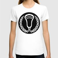 lacrosse T-shirts featuring Lacrosse Victory Wreath Roundel Black by YouGotThat.com