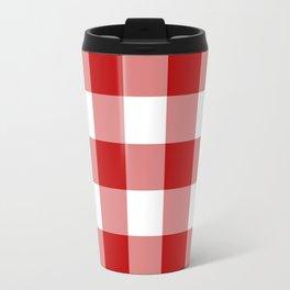 Red and White Buffalo Check Travel Mug