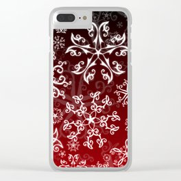 Symbols in Snowflakes on Holly Berry Clear iPhone Case