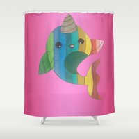 narwhal Shower Curtains featuring narwhal! by wickedhart