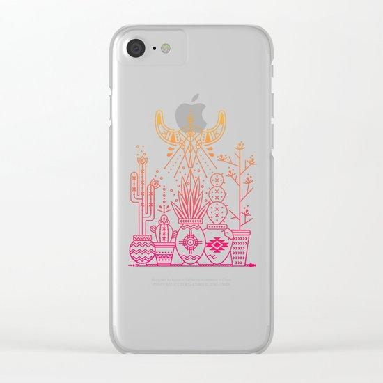 Santa Fe Garden – Pink/Orange Ombré Clear iPhone Case