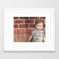 toddler Framed Art Prints featuring A Toddler Named Carter by Missy's Portraits