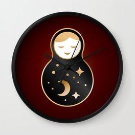 Russian doll matrioshka Babushka smiling Kawaii cute face, Stars, moon, constellation, night sky Wall Clock