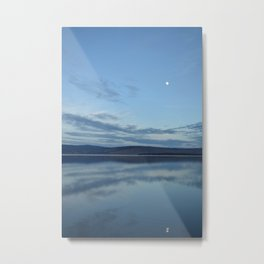 Klamath Lake with Moon reflecting Metal Print