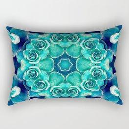 Turquoise Succulents Mandala Rectangular Pillow
