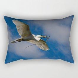 Egret In Flight With Branch Rectangular Pillow