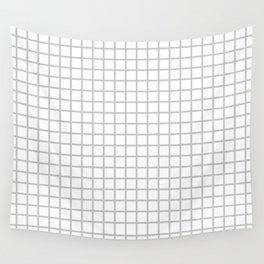 Light Grey Grid Pattern Wall Tapestry