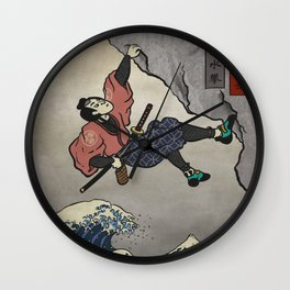 Rock Climbing Samurai Deep Water Soloing Wall Clock