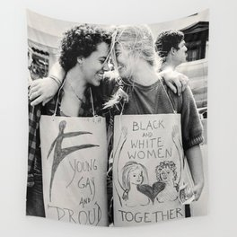 Interracial Lesbian Couple Protest For Equality Wall Tapestry