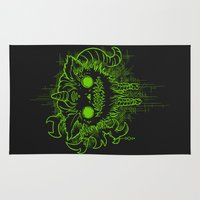 antler Area & Throw Rugs featuring Antler Monster - Neon by tnelly