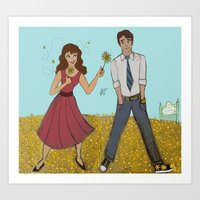 pushing daisies Art Prints featuring Pushing Daisies by ArtemisDrawings