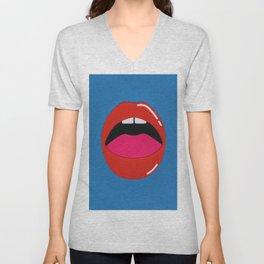 Red Lips Unisex V-Neck