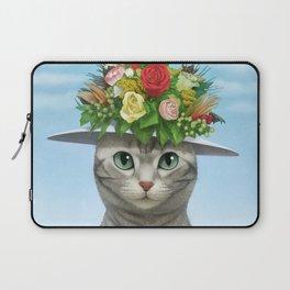 A cat wearing a flower hat Laptop Sleeve