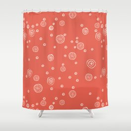 Doodle polka dots - pale red guava Shower Curtain