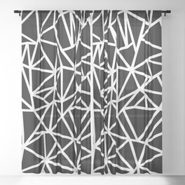 Abstract Outline Thick White on Black Sheer Curtain