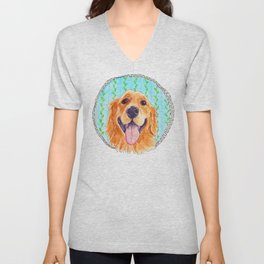 You're Never Fully Dressed without a Smile, Golden Retriever, Whimsical Watercolor Painting, White Unisex V-Neck