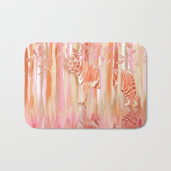 Tiger in the Trees - Painting / Collage Bath Mat