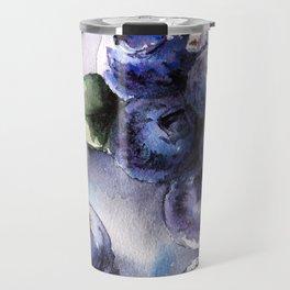 Watercolor Blueberries - Food Art Travel Mug