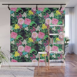 Pretty hand paint watercolor floral design Wall Mural