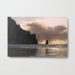 Morro Rock Beach Sunset :: Gold Glow Metal Print