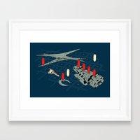 battlestar Framed Art Prints featuring You Sunk My Battlestar by Caddywompus
